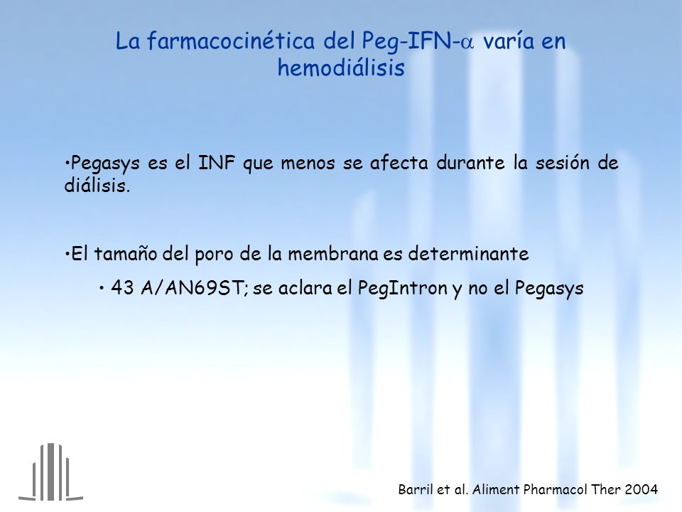 Pegasys es el INF que menos se afecta durante la sesión de diálisis. El tamaño del poro de la membrana es determinante 43 A/AN69ST; se aclara el PegIn