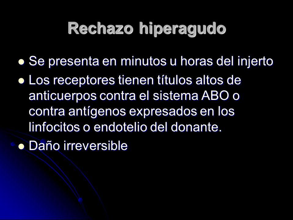 Rechazo hiperagudo Se presenta en minutos u horas del injerto Se presenta en minutos u horas del injerto Los receptores tienen títulos altos de anticu