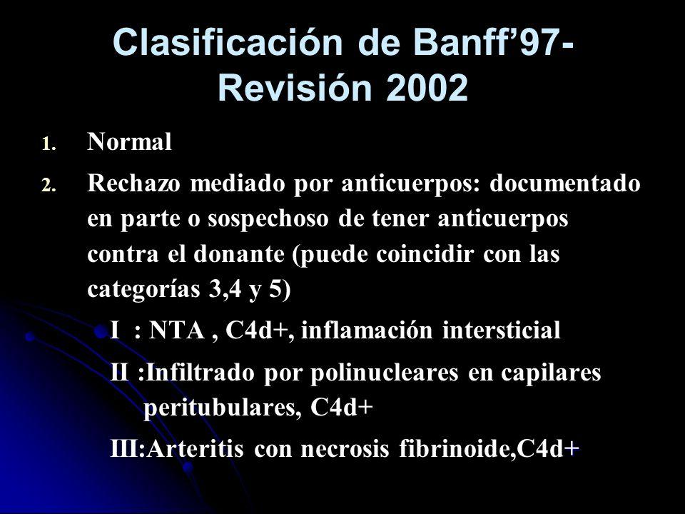 Clasificación de Banff97- Revisión 2002 1. 1. Normal 2. 2. Rechazo mediado por anticuerpos: documentado en parte o sospechoso de tener anticuerpos con