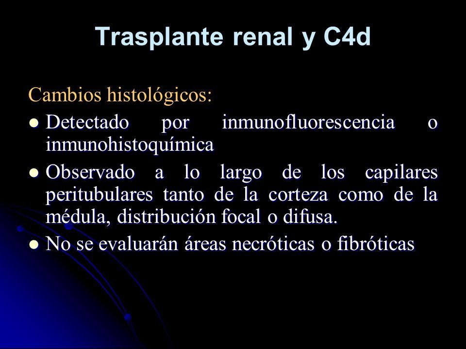 Trasplante renal y C4d Cambios histológicos: Detectado por inmunofluorescencia o inmunohistoquímica Detectado por inmunofluorescencia o inmunohistoquí