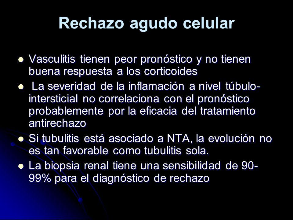 Rechazo agudo celular Vasculitis tienen peor pronóstico y no tienen buena respuesta a los corticoides Vasculitis tienen peor pronóstico y no tienen bu