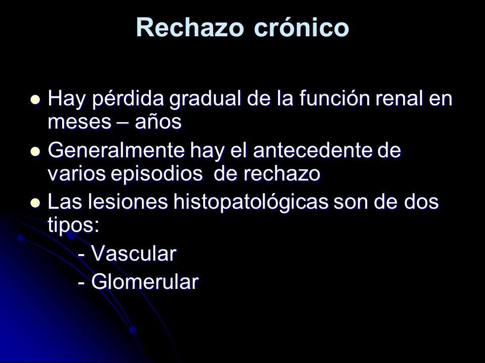 Rechazo crónico Hay pérdida gradual de la función renal en meses – años Hay pérdida gradual de la función renal en meses – años Generalmente hay el an
