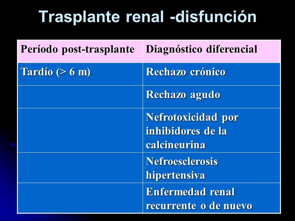 Trasplante renal -disfunción Período post-trasplante Diagnóstico diferencial Tardío (> 6 m) Rechazo crónico Rechazo agudo Nefrotoxicidad por inhibidor