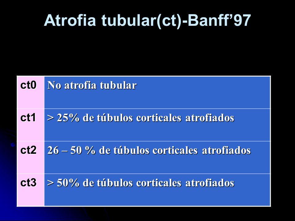 Atrofia tubular(ct)-Banff97ct0 No atrofia tubular ct1 > 25% de túbulos corticales atrofiados ct2 26 – 50 % de túbulos corticales atrofiados ct3 > 50%