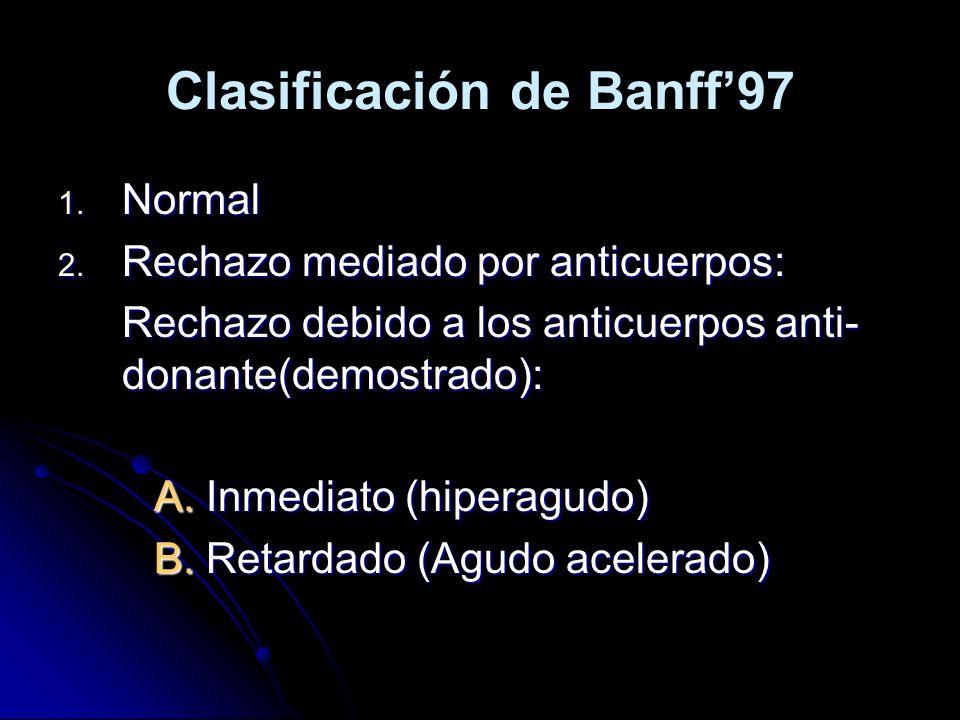 Clasificación de Banff97 1. Normal 2. Rechazo mediado por anticuerpos: Rechazo debido a los anticuerpos anti- donante(demostrado): A. Inmediato (hiper