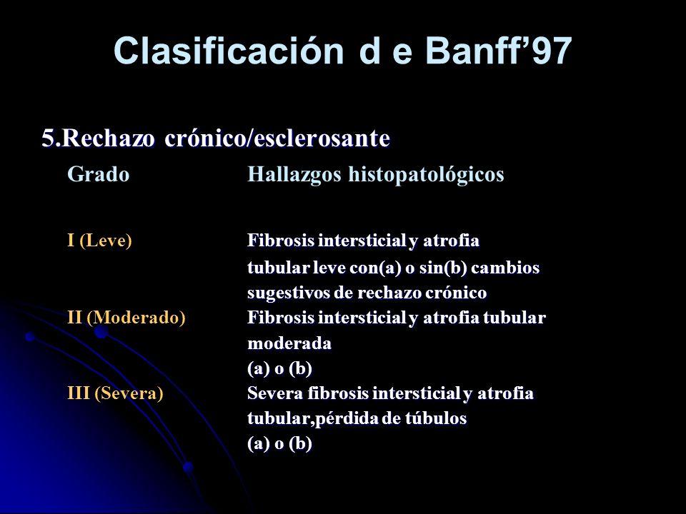 Clasificación d e Banff97 5.Rechazo crónico/esclerosante GradoHallazgos histopatológicos Fibrosis intersticial y atrofia I (Leve)Fibrosis intersticial