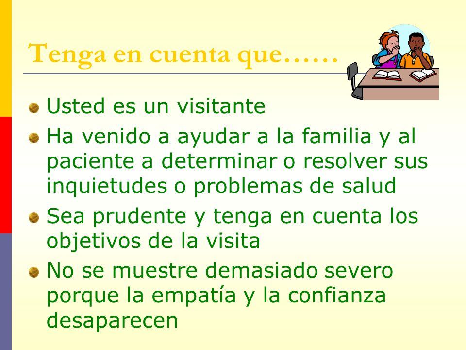 Tenga en cuenta que…… Usted es un visitante Ha venido a ayudar a la familia y al paciente a determinar o resolver sus inquietudes o problemas de salud