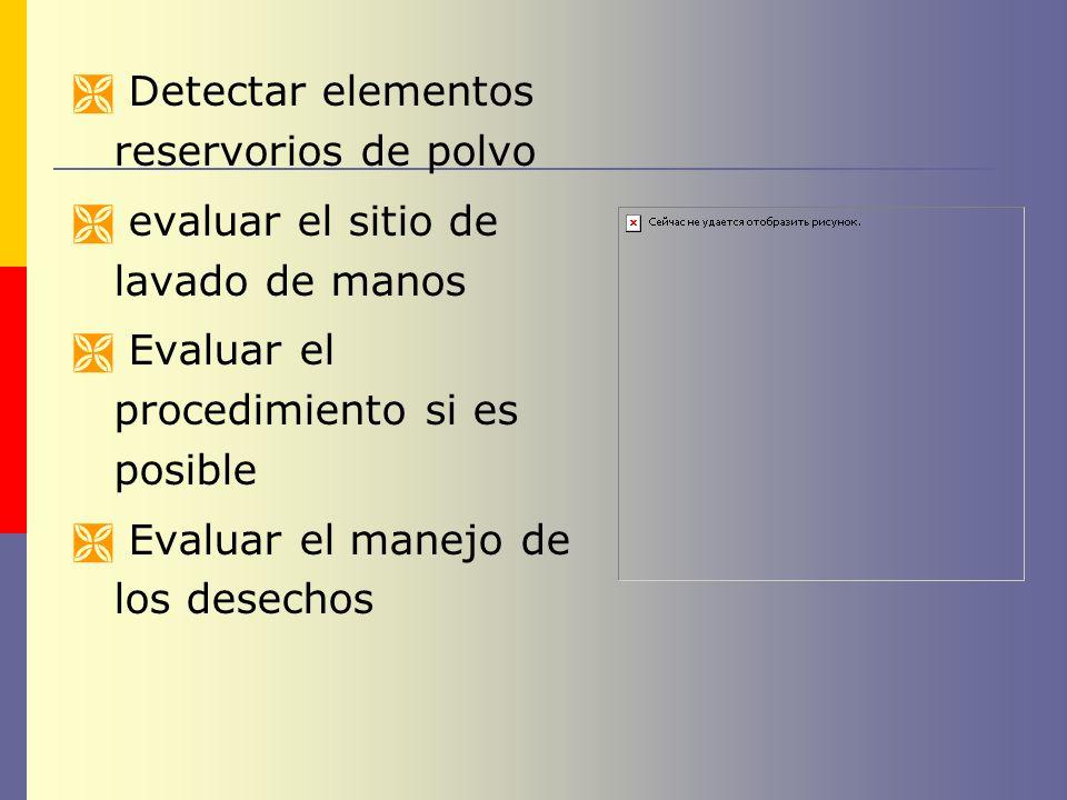 Detectar elementos reservorios de polvo evaluar el sitio de lavado de manos Evaluar el procedimiento si es posible Evaluar el manejo de los desechos