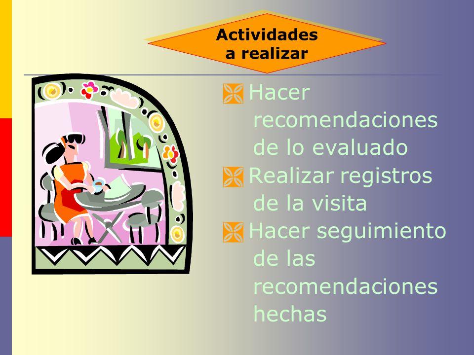 Hacer recomendaciones de lo evaluado Realizar registros de la visita Hacer seguimiento de las recomendaciones hechas Actividades a realizar Actividade