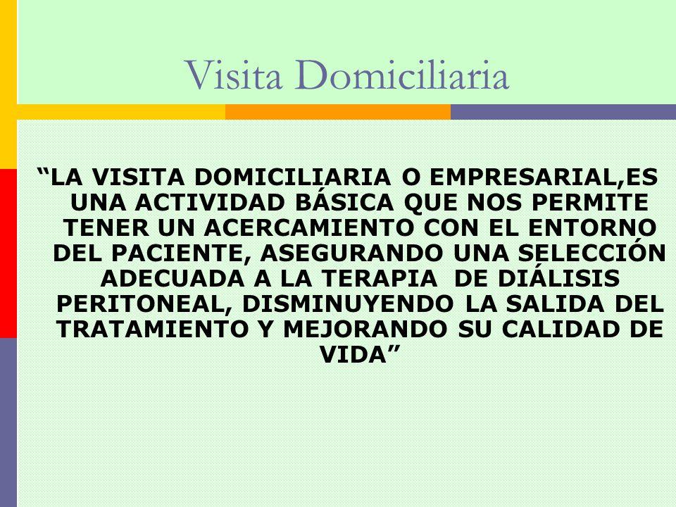 Visita Domiciliaria LA VISITA DOMICILIARIA O EMPRESARIAL,ES UNA ACTIVIDAD BÁSICA QUE NOS PERMITE TENER UN ACERCAMIENTO CON EL ENTORNO DEL PACIENTE, AS