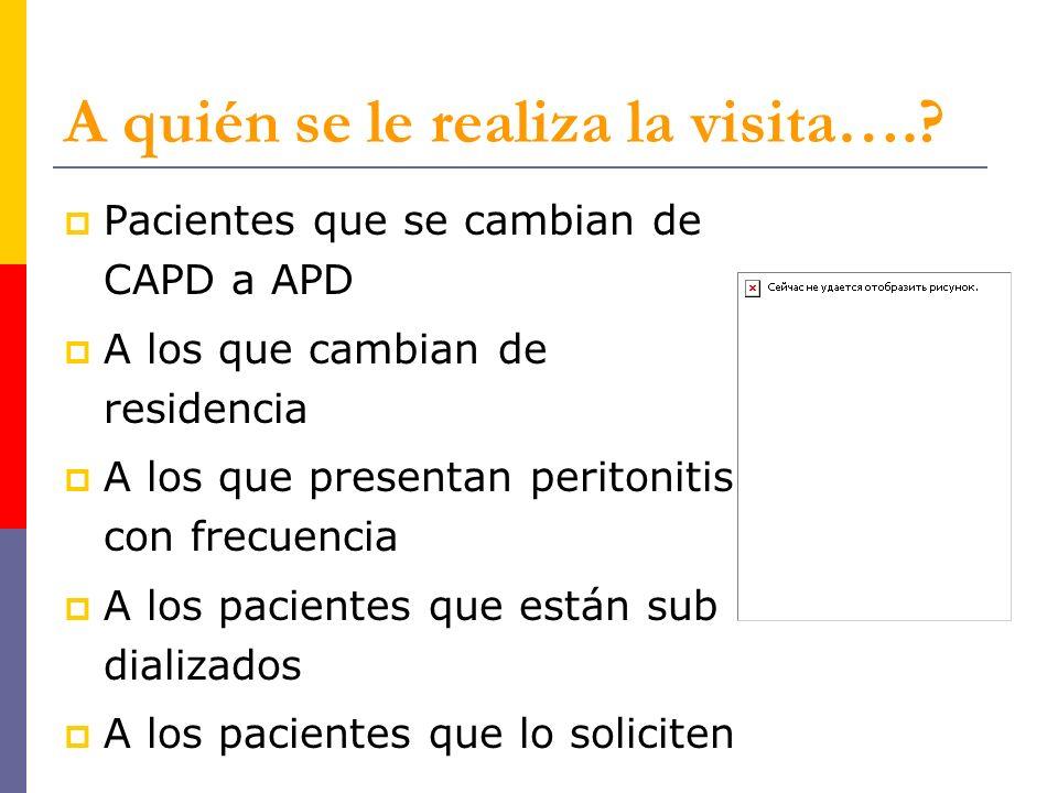 A quién se le realiza la visita….? Pacientes que se cambian de CAPD a APD A los que cambian de residencia A los que presentan peritonitis con frecuenc