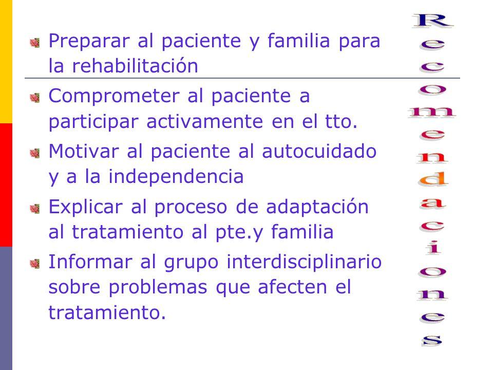 Preparar al paciente y familia para la rehabilitación Comprometer al paciente a participar activamente en el tto. Motivar al paciente al autocuidado y