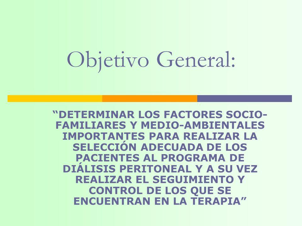 DETERMINAR LOS FACTORES SOCIO- FAMILIARES Y MEDIO-AMBIENTALES IMPORTANTES PARA REALIZAR LA SELECCIÓN ADECUADA DE LOS PACIENTES AL PROGRAMA DE DIÁLISIS