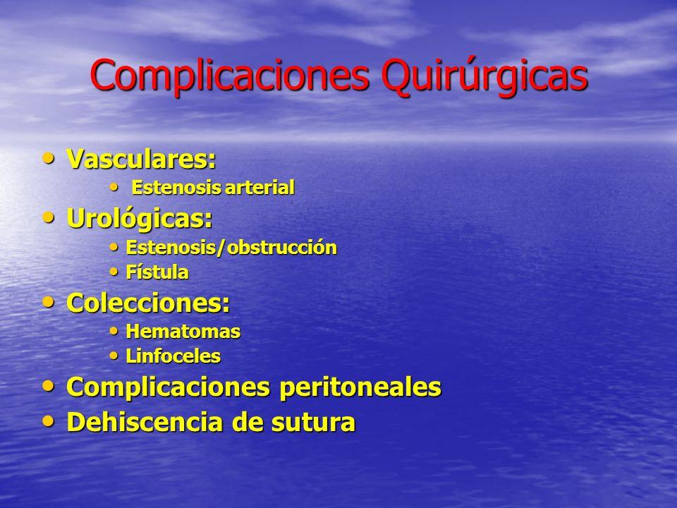 Complicaciones Quirúrgicas Vasculares: Vasculares: Estenosis arterial Estenosis arterial Urológicas: Urológicas: Estenosis/obstrucción Estenosis/obstr