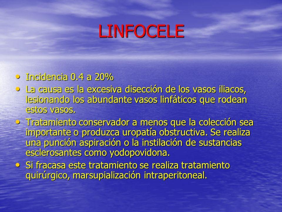LINFOCELE Incidencia 0.4 a 20% Incidencia 0.4 a 20% La causa es la excesiva disección de los vasos iliacos, lesionando los abundante vasos linfáticos
