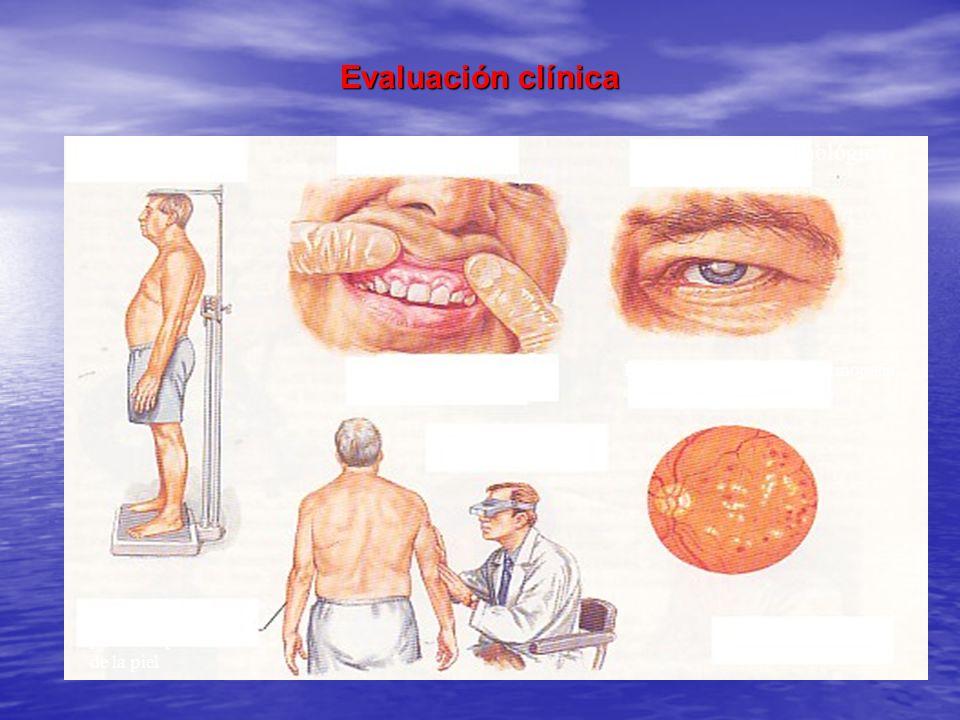 Evaluación clínica Talla y peso Evaluación dental Hiperplasia gingival, lesión bucal (tumores) Evaluación Oftalmológica Formación de catarata o retino
