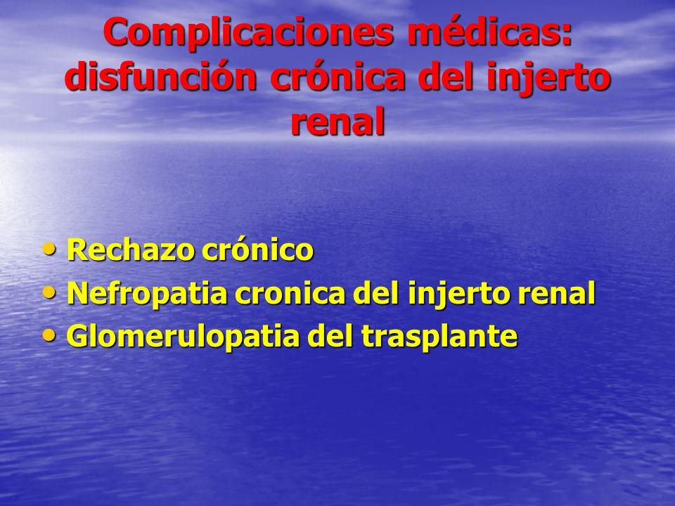 Complicaciones médicas: disfunción crónica del injerto renal Rechazo crónico Rechazo crónico Nefropatia cronica del injerto renal Nefropatia cronica d