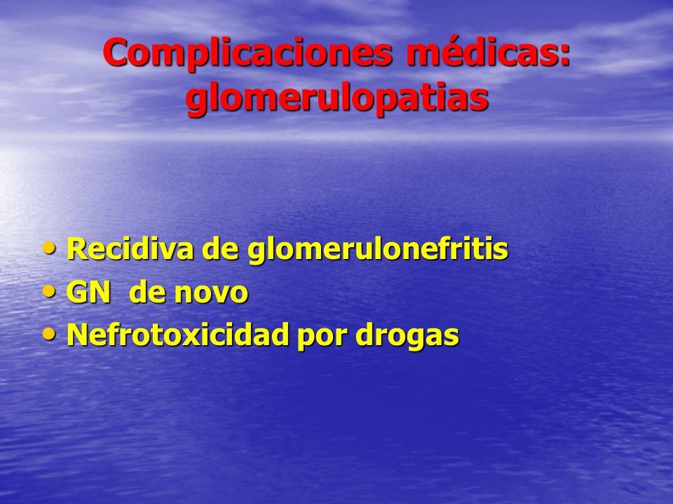 Complicaciones médicas: glomerulopatias Recidiva de glomerulonefritis Recidiva de glomerulonefritis GN de novo GN de novo Nefrotoxicidad por drogas Ne