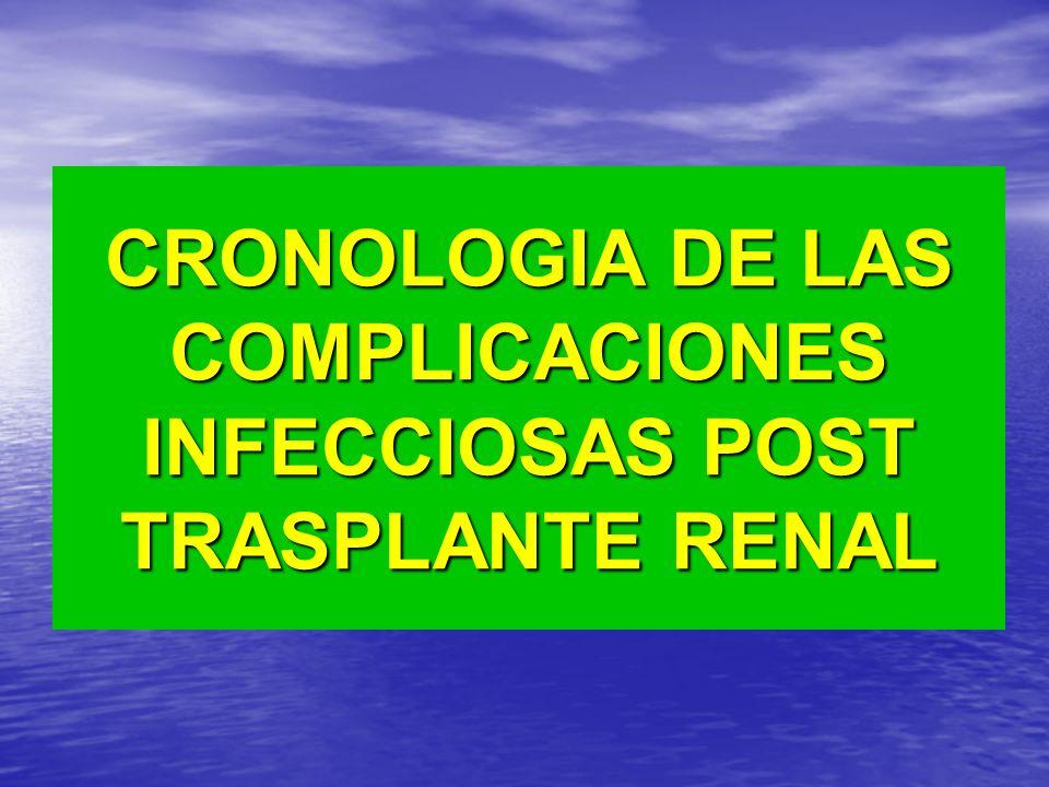CRONOLOGIA DE LAS COMPLICACIONES INFECCIOSAS POST TRASPLANTE RENAL