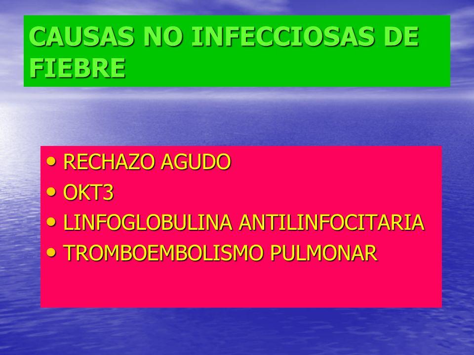 CAUSAS NO INFECCIOSAS DE FIEBRE RECHAZO AGUDO RECHAZO AGUDO OKT3 OKT3 LINFOGLOBULINA ANTILINFOCITARIA LINFOGLOBULINA ANTILINFOCITARIA TROMBOEMBOLISMO