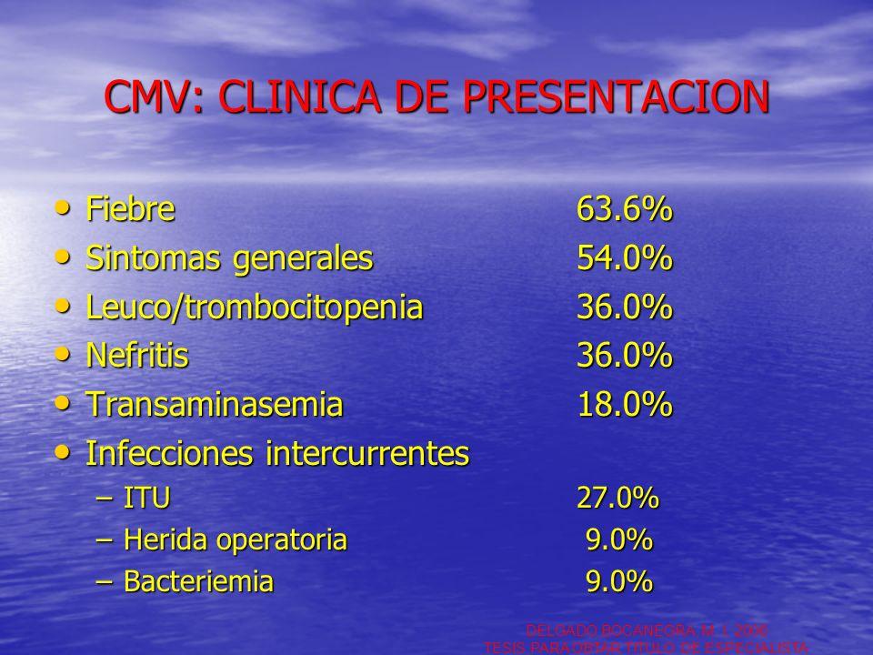 CMV: CLINICA DE PRESENTACION Fiebre63.6% Fiebre63.6% Sintomas generales54.0% Sintomas generales54.0% Leuco/trombocitopenia36.0% Leuco/trombocitopenia3