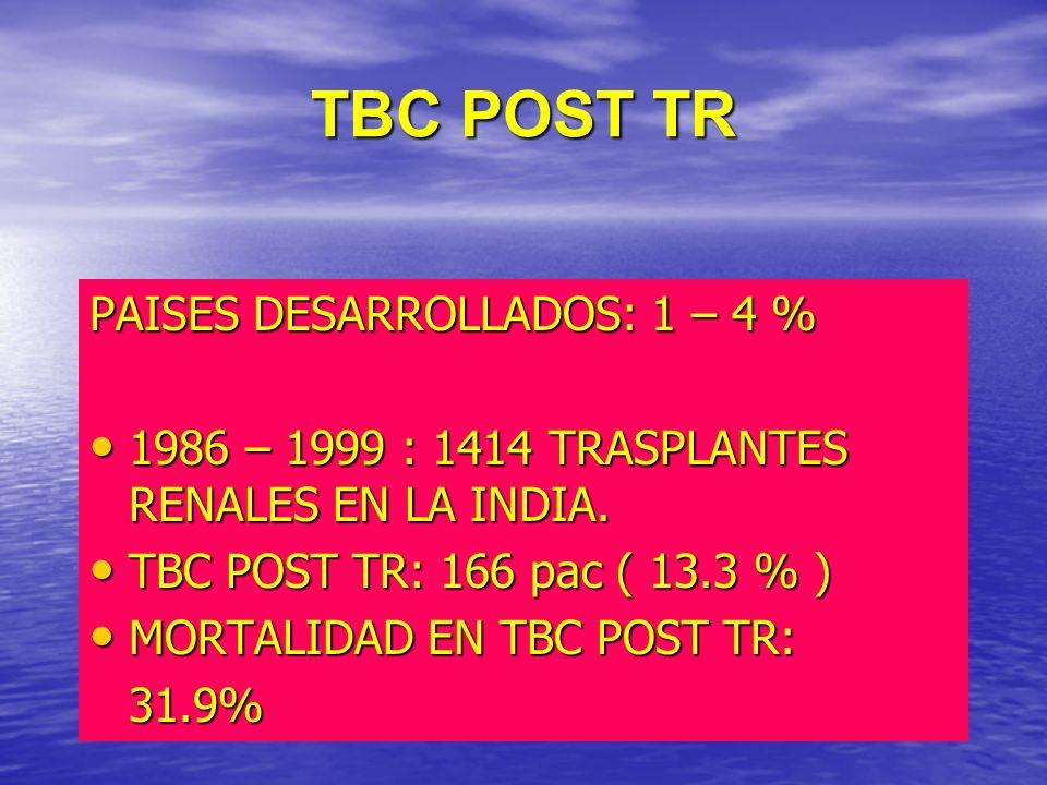 TBC POST TR PAISES DESARROLLADOS: 1 – 4 % 1986 – 1999 : 1414 TRASPLANTES RENALES EN LA INDIA. 1986 – 1999 : 1414 TRASPLANTES RENALES EN LA INDIA. TBC