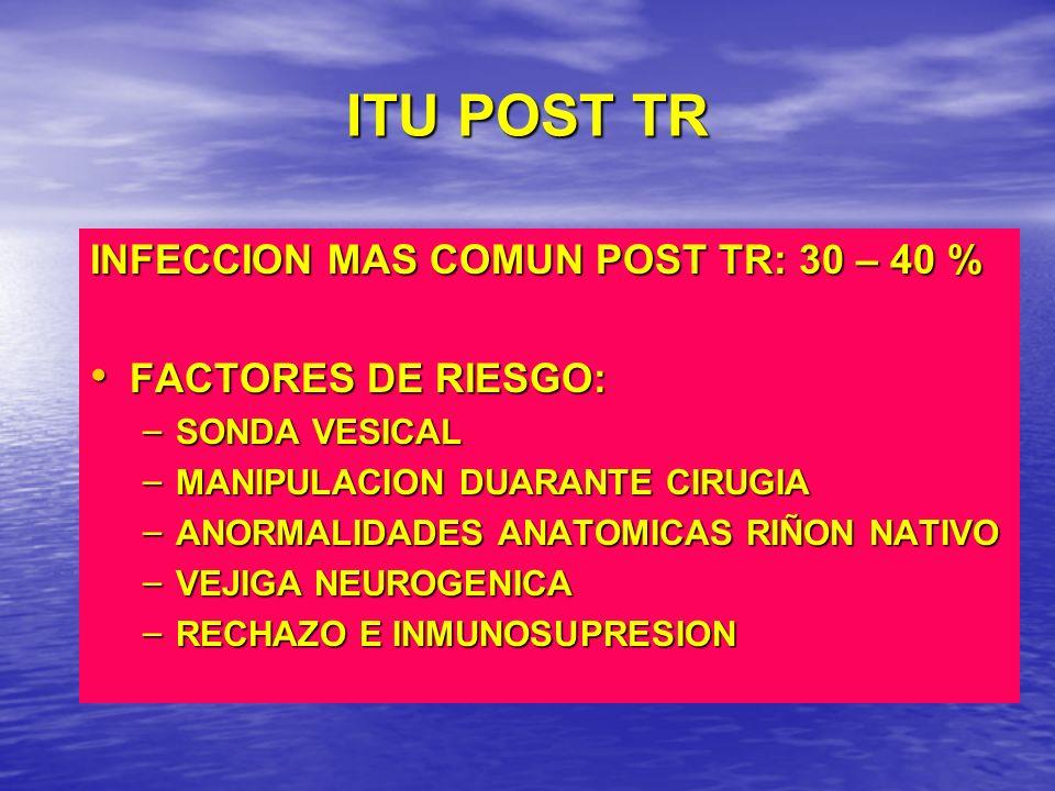 ITU POST TR INFECCION MAS COMUN POST TR: 30 – 40 % FACTORES DE RIESGO: FACTORES DE RIESGO: – SONDA VESICAL – MANIPULACION DUARANTE CIRUGIA – ANORMALID