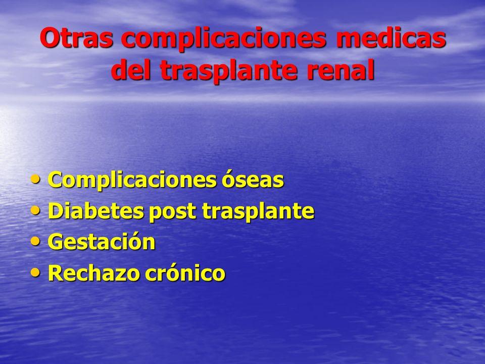 Otras complicaciones medicas del trasplante renal Complicaciones óseas Complicaciones óseas Diabetes post trasplante Diabetes post trasplante Gestació