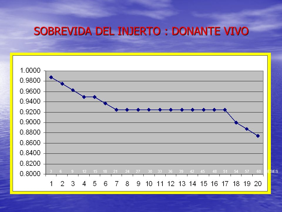 SOBREVIDA INJERTO TR DONANTE CADAVERICO 3 6 9 12 15 18 21 24 27 30 33 36 39 42 45 48 51 54 57 60 MESES 81 INJERTOS DE DONANTE CADAVERICO