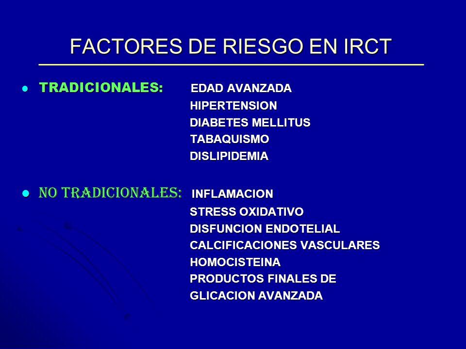 FACTORES DE RIESGO EN IRCT TRADICIONALES: EDAD AVANZADA TRADICIONALES: EDAD AVANZADA HIPERTENSION HIPERTENSION DIABETES MELLITUS DIABETES MELLITUS TAB