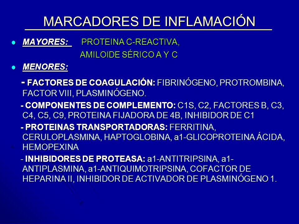 MARCADORES DE INFLAMACIÓN MAYORES: PROTEINA C-REACTIVA, MAYORES: PROTEINA C-REACTIVA, AMILOIDE SÉRICO A Y C AMILOIDE SÉRICO A Y C MENORES: MENORES: -