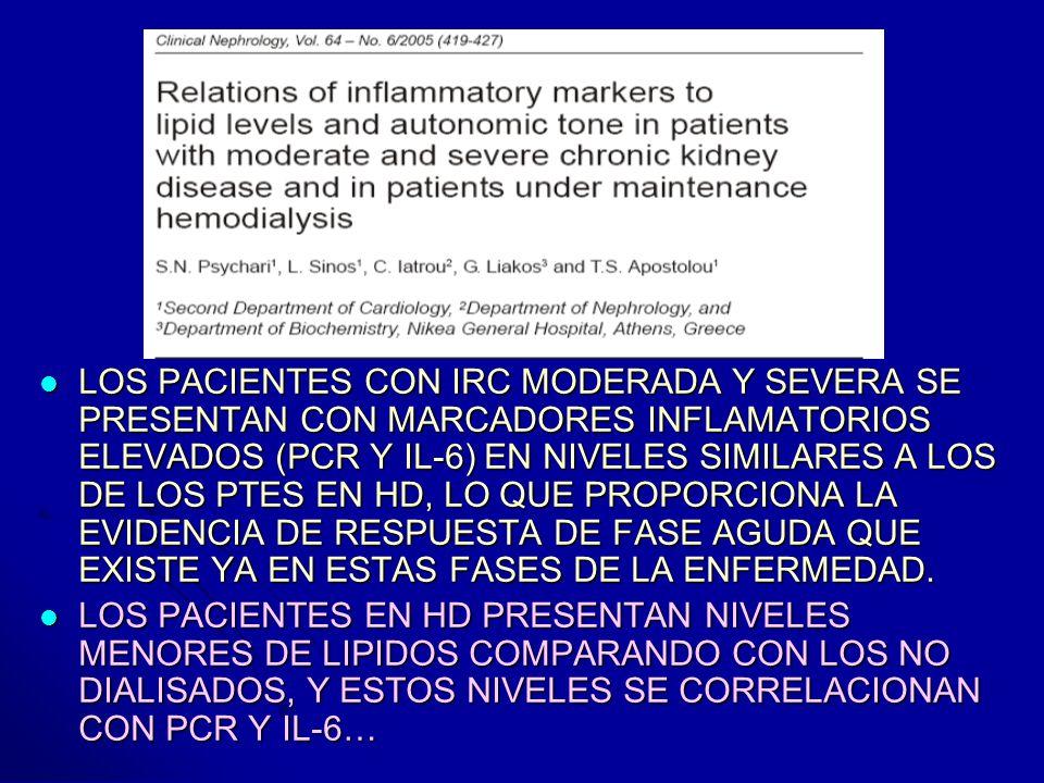 LOS PACIENTES CON IRC MODERADA Y SEVERA SE PRESENTAN CON MARCADORES INFLAMATORIOS ELEVADOS (PCR Y IL-6) EN NIVELES SIMILARES A LOS DE LOS PTES EN HD,