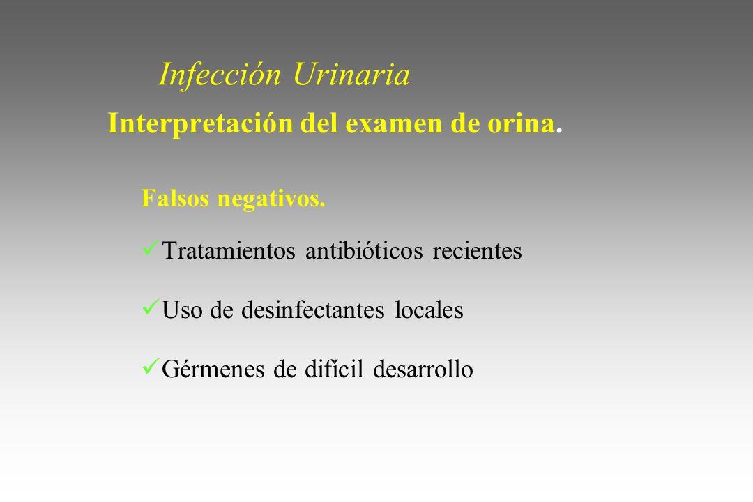 Infección Urinaria Interpretación del examen de orina. Falsos negativos. Tratamientos antibióticos recientes Uso de desinfectantes locales Gérmenes de