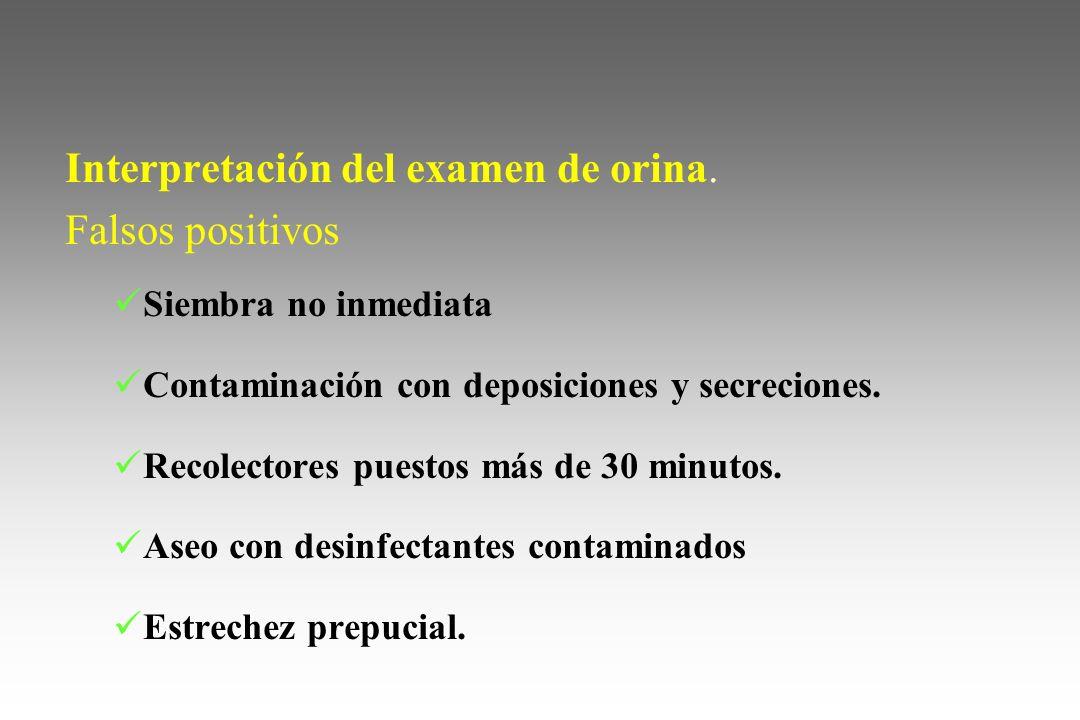 Interpretación del examen de orina. Falsos positivos Siembra no inmediata Contaminación con deposiciones y secreciones. Recolectores puestos más de 30