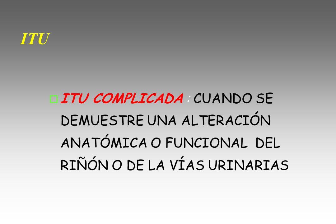 ITU COMPLICADA ITU COMPLICADA O DE RIESGO o ITU COMPLICADA O DE RIESGO o FIEBRE >39º.
