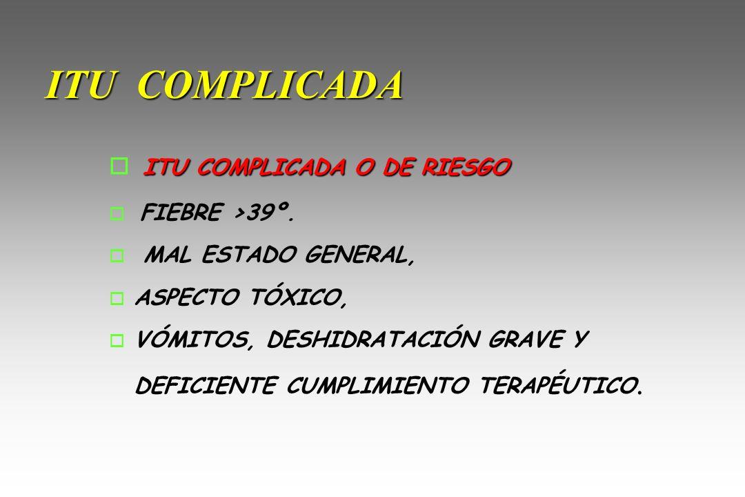 ITU COMPLICADA ITU COMPLICADA O DE RIESGO o ITU COMPLICADA O DE RIESGO o FIEBRE >39º. o MAL ESTADO GENERAL, o ASPECTO TÓXICO, o VÓMITOS, DESHIDRATACIÓ