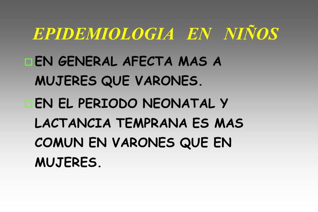 EPIDEMIOLOGIA EN NIÑOS o EN GENERAL AFECTA MAS A MUJERES QUE VARONES. o EN EL PERIODO NEONATAL Y LACTANCIA TEMPRANA ES MAS COMUN EN VARONES QUE EN MUJ