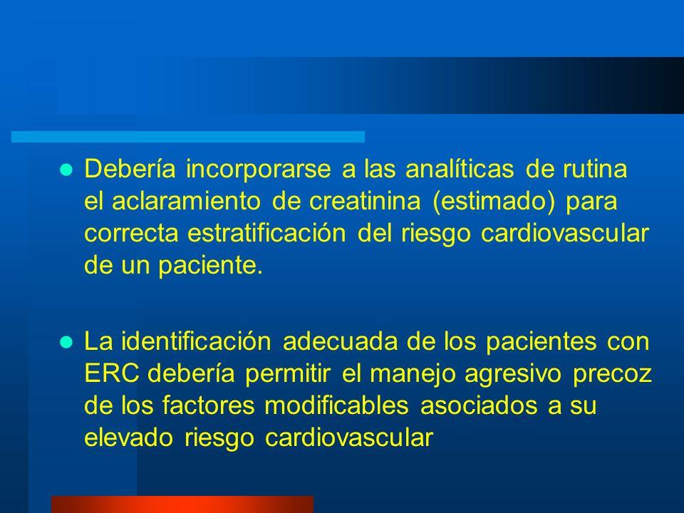 Debería incorporarse a las analíticas de rutina el aclaramiento de creatinina (estimado) para correcta estratificación del riesgo cardiovascular de un