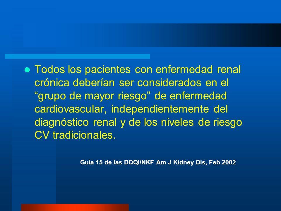 Todos los pacientes con enfermedad renal crónica deberían ser considerados en el grupo de mayor riesgo de enfermedad cardiovascular, independientement