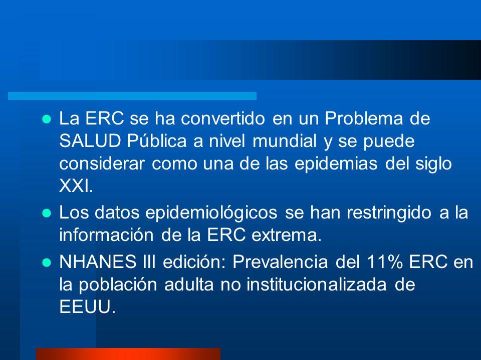 La ERC se ha convertido en un Problema de SALUD Pública a nivel mundial y se puede considerar como una de las epidemias del siglo XXI. Los datos epide