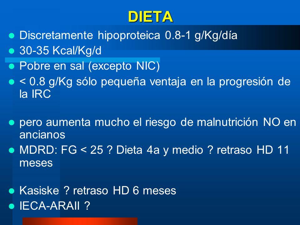 DIETA Discretamente hipoproteica 0.8-1 g/Kg/día 30-35 Kcal/Kg/d Pobre en sal (excepto NIC) < 0.8 g/Kg sólo pequeña ventaja en la progresión de la IRC