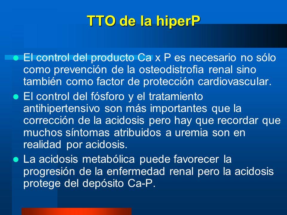 TTO de la hiperP El control del producto Ca x P es necesario no sólo como prevención de la osteodistrofia renal sino también como factor de protección