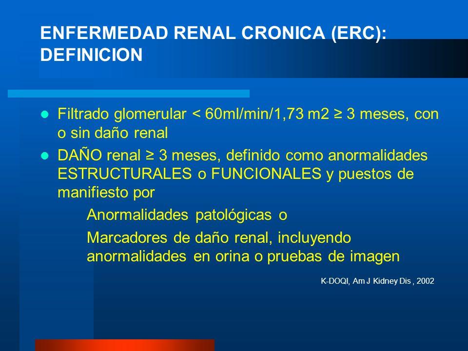 ENFERMEDAD RENAL CRONICA (ERC): DEFINICION Filtrado glomerular < 60ml/min/1,73 m2 3 meses, con o sin daño renal DAÑO renal 3 meses, definido como anor