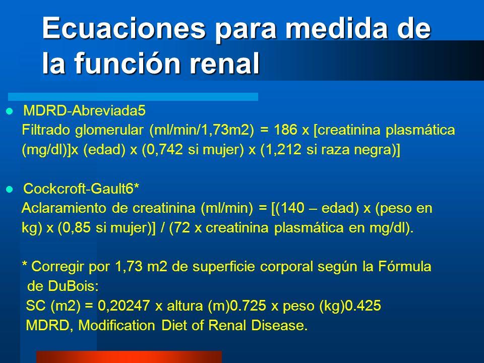 Ecuaciones para medida de la función renal MDRD-Abreviada5 Filtrado glomerular (ml/min/1,73m2) = 186 x [creatinina plasmática (mg/dl)]x (edad) x (0,74