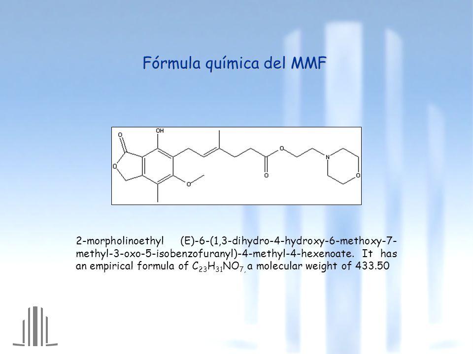 2-morpholinoethyl (E)-6-(1,3-dihydro-4-hydroxy-6-methoxy-7- methyl-3-oxo-5-isobenzofuranyl)-4-methyl-4-hexenoate.
