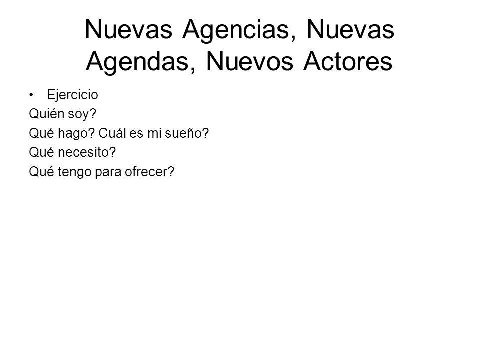 Nuevas Agencias, Nuevas Agendas, Nuevos Actores Ejercicio Quién soy.