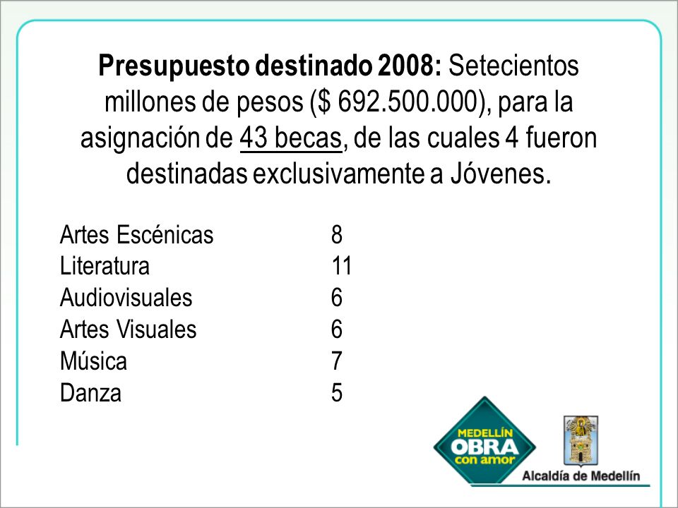 Presupuesto destinado 2008: Setecientos millones de pesos ($ 692.500.000), para la asignación de 43 becas, de las cuales 4 fueron destinadas exclusivamente a Jóvenes.