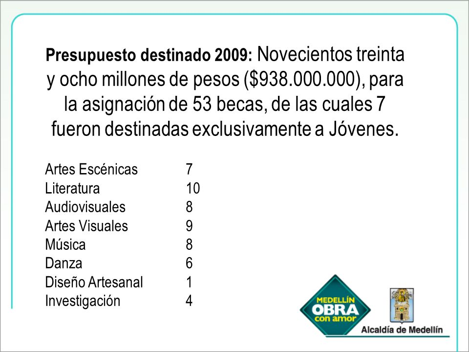 Presupuesto destinado 2009: Novecientos treinta y ocho millones de pesos ($938.000.000), para la asignación de 53 becas, de las cuales 7 fueron destinadas exclusivamente a Jóvenes.