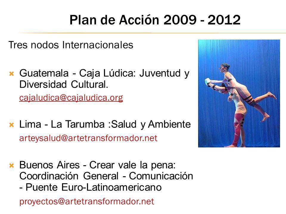 Tres nodos Internacionales Guatemala - Caja Lúdica: Juventud y Diversidad Cultural. cajaludica@cajaludica.org Lima - La Tarumba :Salud y Ambiente arte