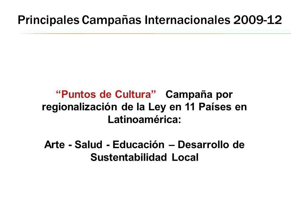 Puntos de Cultura Campaña por regionalización de la Ley en 11 Países en Latinoamérica: Arte - Salud - Educación – Desarrollo de Sustentabilidad Local